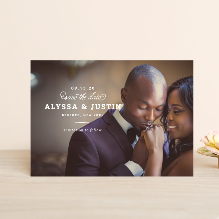 """Timeless"" - Save The Date Postcards in White by Oscar & Emma."