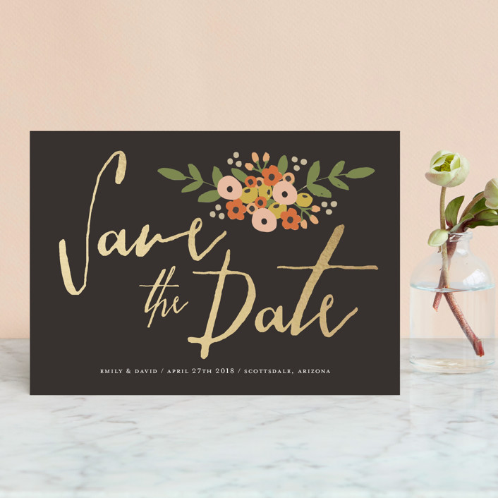 """Tiny Flower Bunch"" - Rustic Save The Date Postcards in Charcoal by August and Oak."