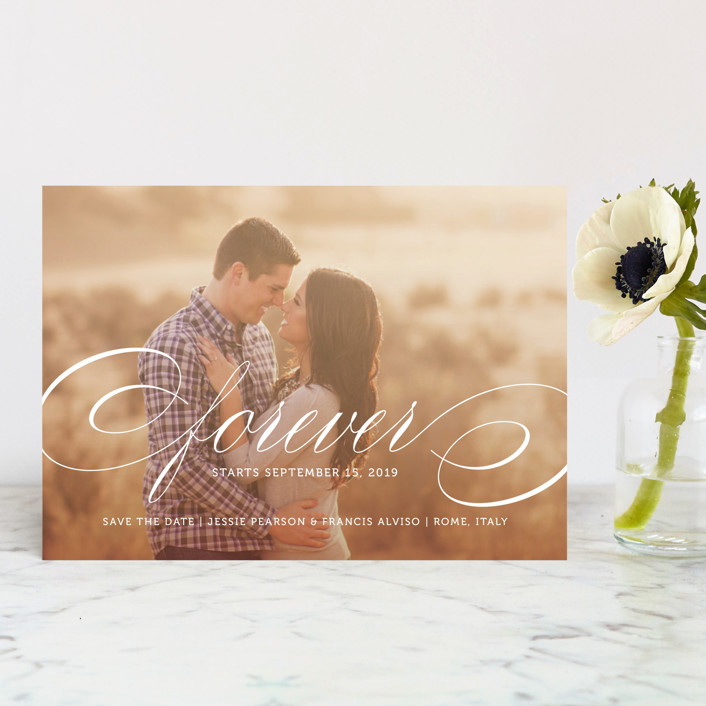 """Forever"" - Save The Date Postcards in Snow by Kimberly FitzSimons."