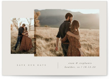 This is a grey save the date postcard by Carolyn Nicks called forever together with standard printing on signature in postcard.