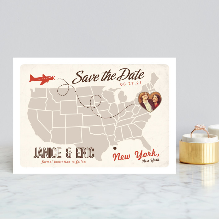 """Up and Away"" - Bold typographic, Destination Save The Date Postcards in Tomato by leslie hamer."