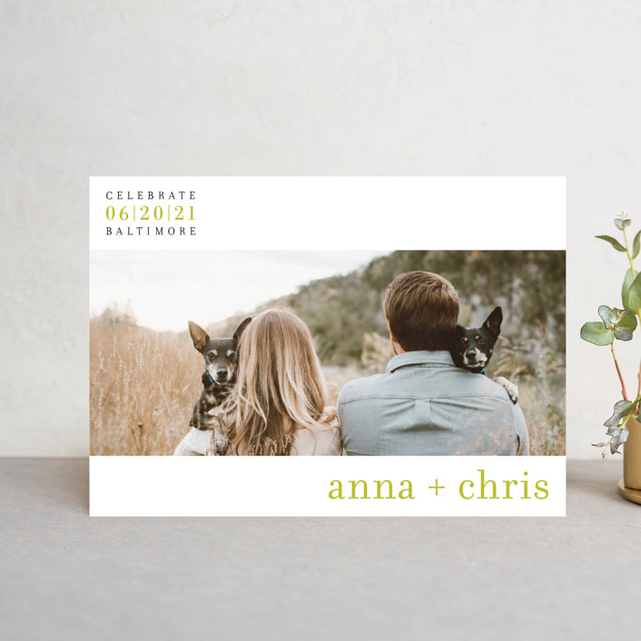 """float + celebrate"" - Modern Save The Date Postcards in Celery by Float Paperie."