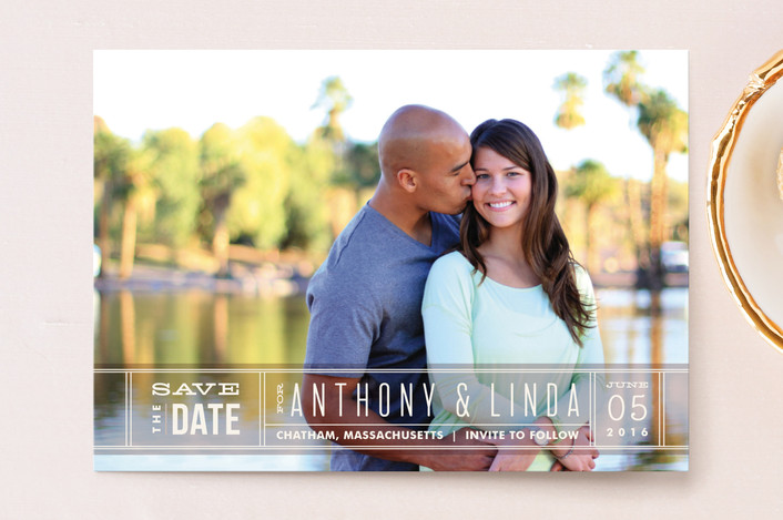 """""""Silver Screen"""" - Full-Bleed Photo, Bold typographic Save The Date Postcards in Kumquat by Jennifer Wick."""