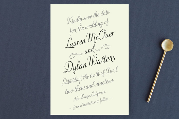 """Just My Type"" - Bold typographic, Classical Save The Date Postcards in Tuxedo by Ann Gardner."