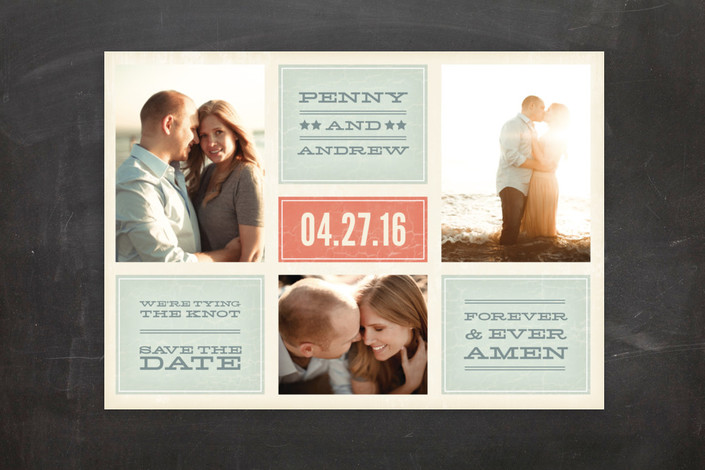"""Forever and Ever Amen"" - Bold typographic, Modern Save The Date Postcards in Persimmon by Guess What Design Studio."