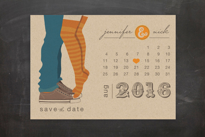 """Tiptoe Kiss"" - Bold typographic, Modern Save The Date Postcards in Mango by My Splendid Summer."