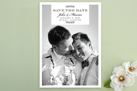 Swirl Deco Save The Date Postcards
