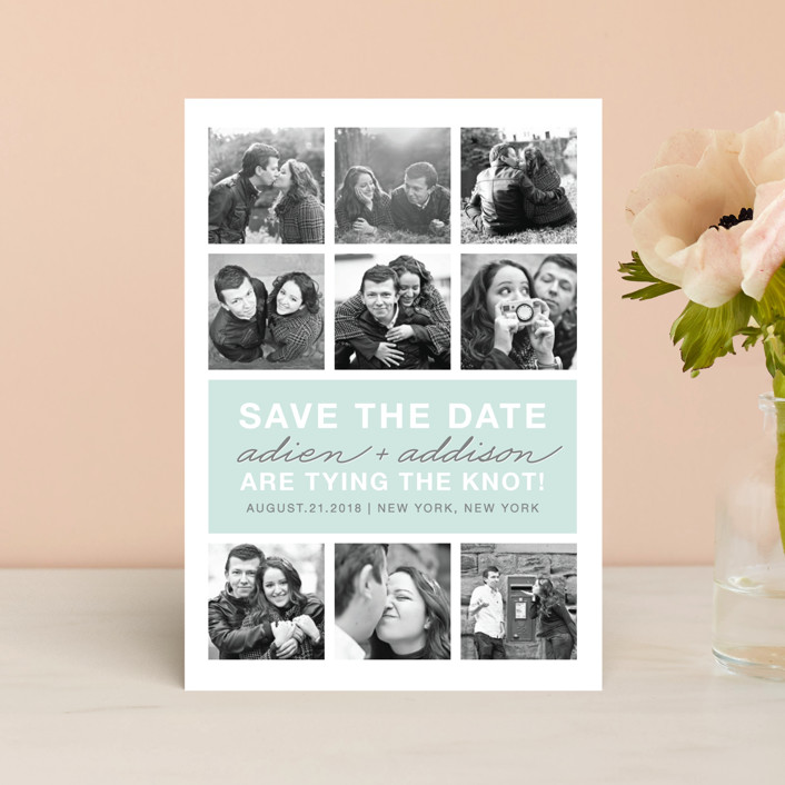"""Photo Gallery"" - Bold typographic, Modern Save The Date Postcards in Sea by The Social Type."