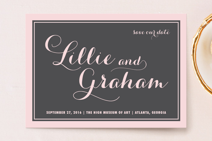 """Symphony"" - Bold typographic, Classical Save The Date Postcards in Blush by Sydney Newsom."