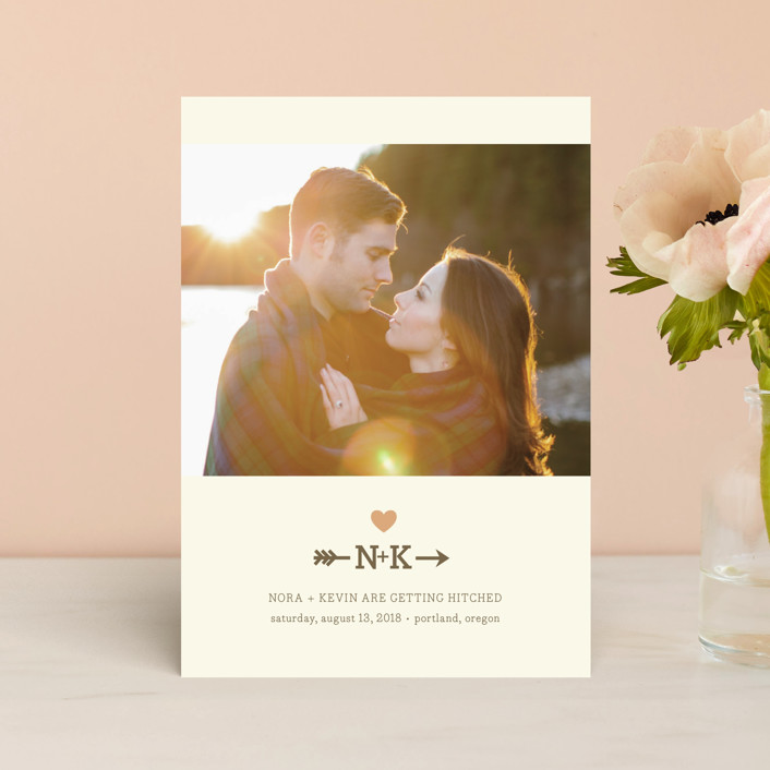 """Love Struck"" - Monogrammed, Rustic Save The Date Postcards in Peach by The Social Type."