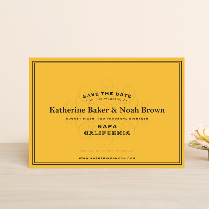 """Label"" - Winery, Destination Save The Date Postcards in Goldenrod by Lauren Chism."
