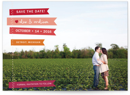 photo of Stitched Flags Save The Date Postcards