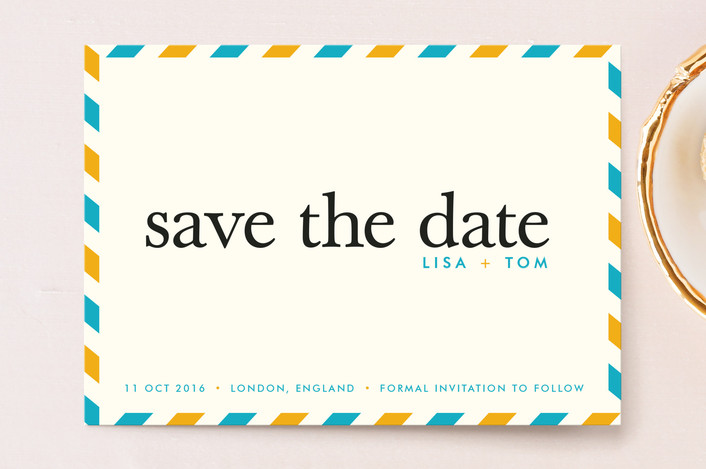 """float + aerogram"" - Modern, Destination Save The Date Postcards in Paradise by Float Paperie."
