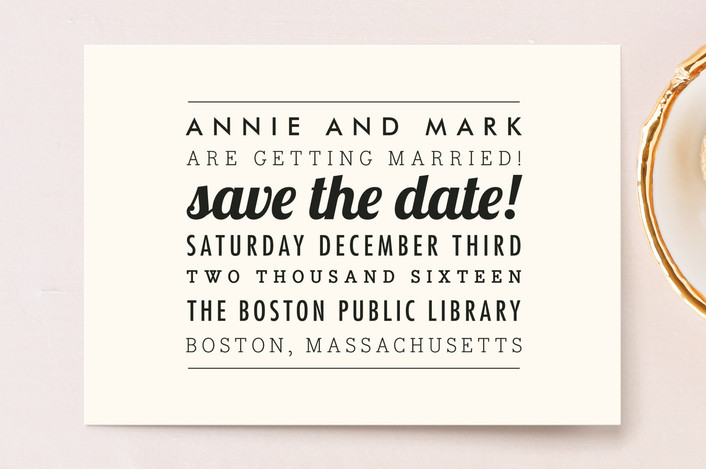 """The Square Type"" - Simple, Modern Save The Date Postcards in Cream by Design Lotus."