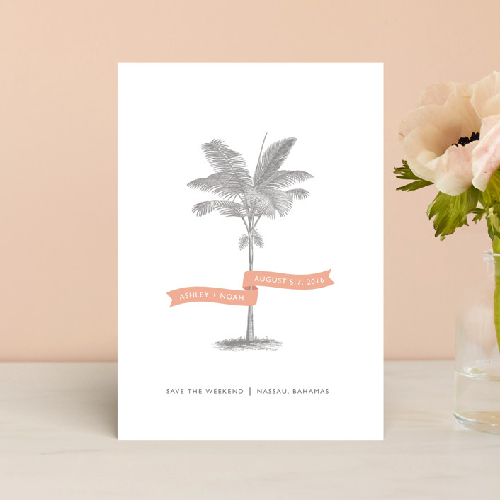 """Palm"" - Destination, Beach Save The Date Postcards in Salmon by Lauren Chism."
