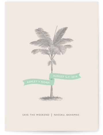 This is a square orientation beach, destination, illustrative, green Save the Dates by Lauren Chism called Palm with Standard printing on Signature in Postcard Flat Card format. Modern meets elegant with this luxe destinate save the date. It will leave ...