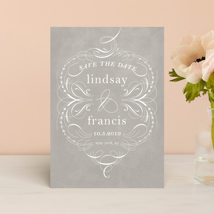 """""""delicate swashes"""" - Vintage Save The Date Postcards in Taupe by Aspacia Kusulas."""