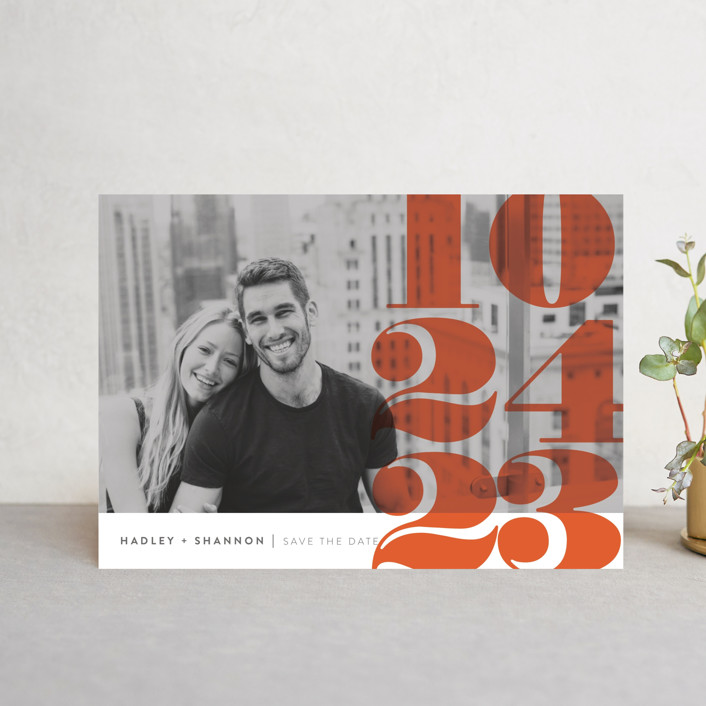 """""""Numerals"""" - Save The Date Postcards in Tomato by Up Up Creative."""