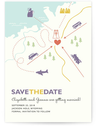 Two Brides Destination Save the Date Postcards