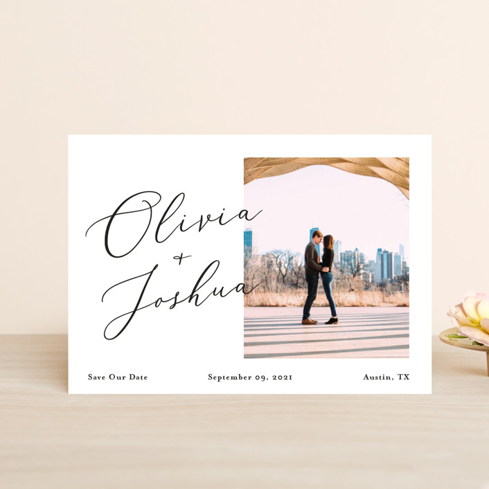 """Modern day names"" - Save The Date Postcards in Onyx by Heather Francisco."