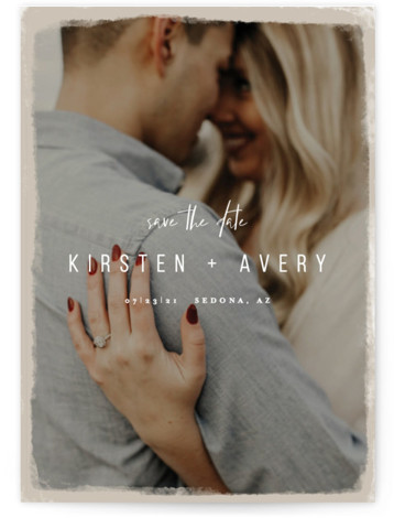This is a bold and typographic, brown Save the Dates by Melissa Egan of Pistols called Kindred with Standard printing on Signature in Postcard Flat Card format. Mixed type over an sand colored overlay