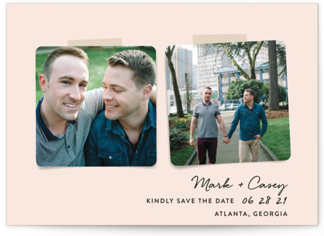 This is a landscape modern, pink Save the Dates by Hooray Creative called Two Become One with Standard printing on Signature in Postcard Flat Card format. A simple 2 photo design.