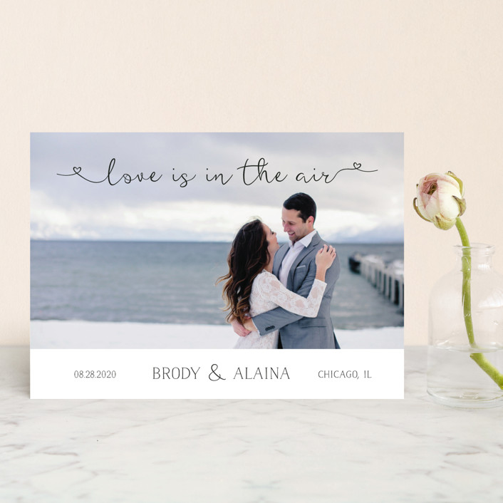 """""""Air"""" - Rustic Save The Date Postcards in Midnight by LemonBirch Design."""