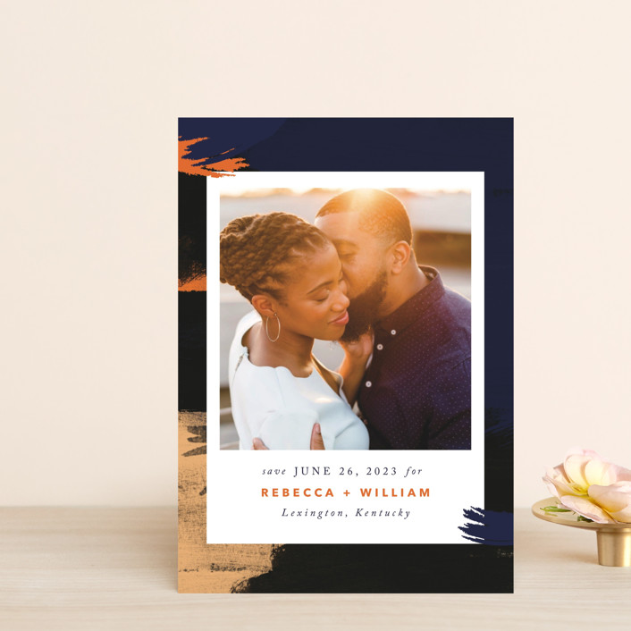 """Gallery Crush"" - Modern Save The Date Postcards in Ocean by Kate Ross."