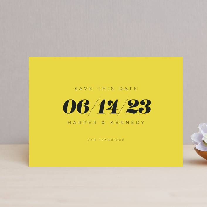"""""""Bold Simplicity"""" - Save The Date Postcards in Mimosa by Laura Bolter Design."""