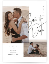 This is a black save the date postcard by Kristie Kern called Flirt with standard printing on signature in postcard.