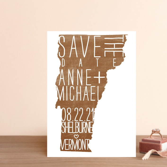 """""""State Stamp - Vermont"""" - Save The Date Postcards in Forest by Fig and Cotton."""
