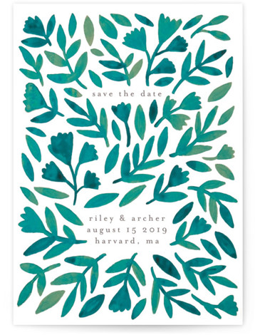 This is a portrait botanical, green Save the Dates by Katharine Watson called Wildflower Floral with Standard printing on Signature in Postcard Flat Card format. This design uses a hand painted watercolor design to create a unique, eye catching fun ...