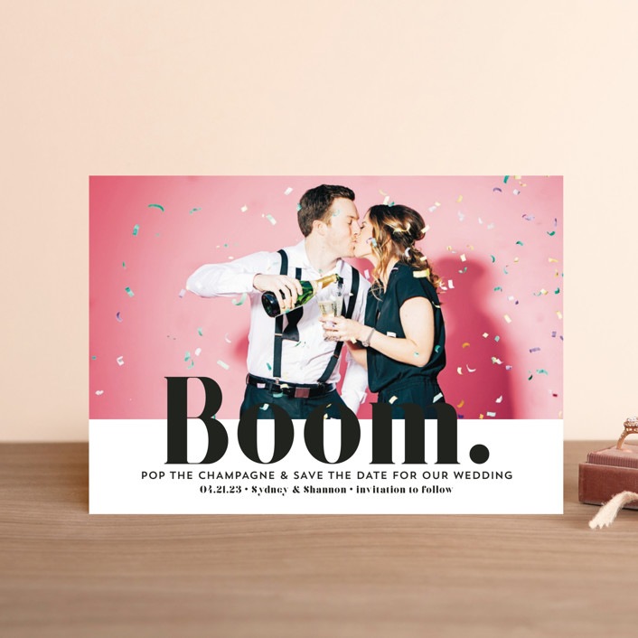 """""""BOOM Pop the Champagne"""" - Save The Date Postcards in Midnight by Erika Firm."""