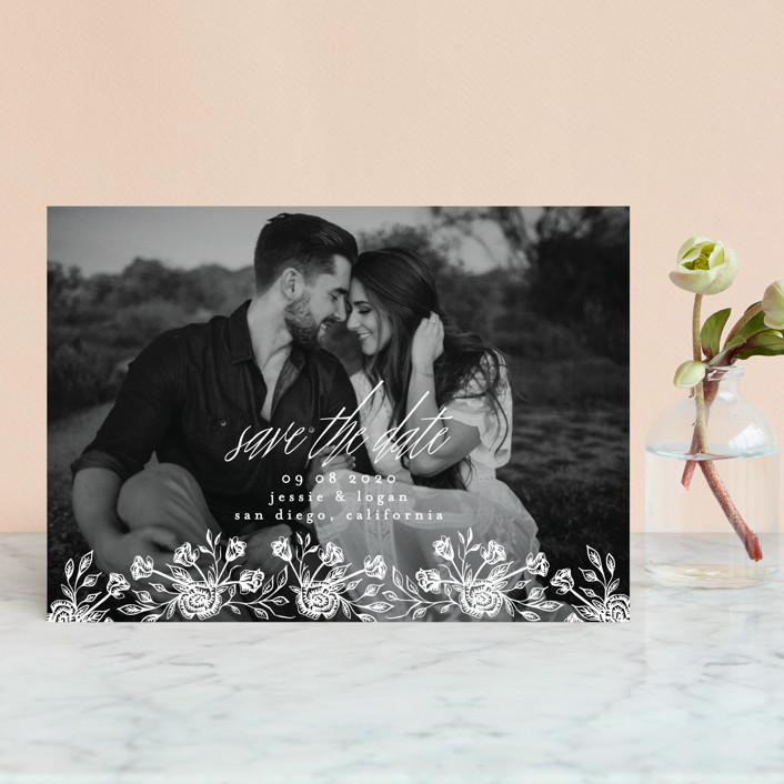 """""""Floral Bed"""" - Save The Date Postcards in Frost by Phrosne Ras."""