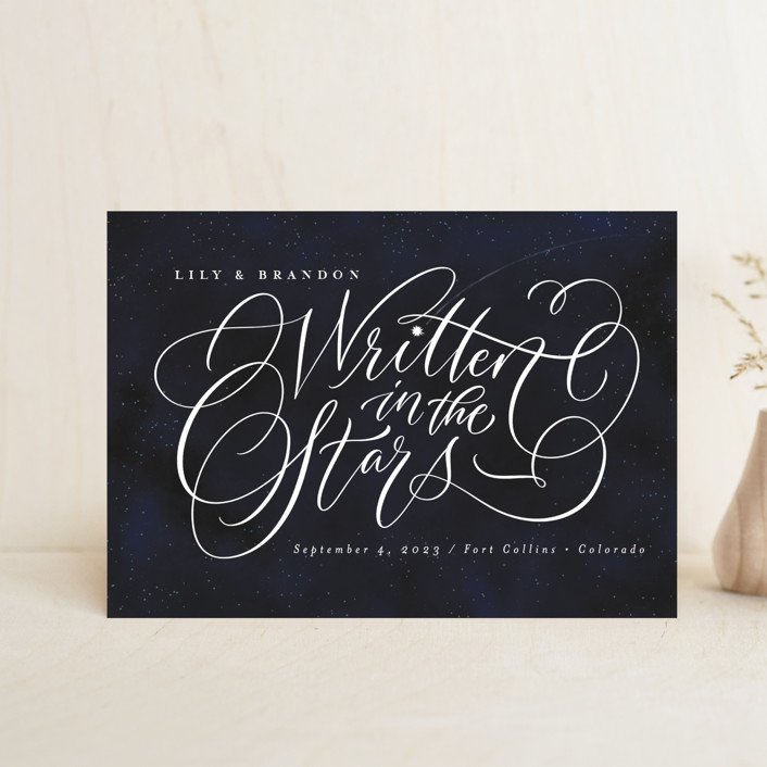 """""""Starry-Eyed"""" - Save The Date Postcards in Night Sky by Laura Bolter Design."""