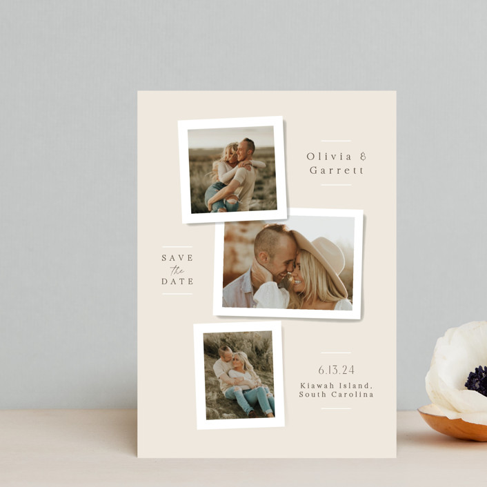 """Portraits"" - Save The Date Postcards in Champagne by Jennifer Wick."