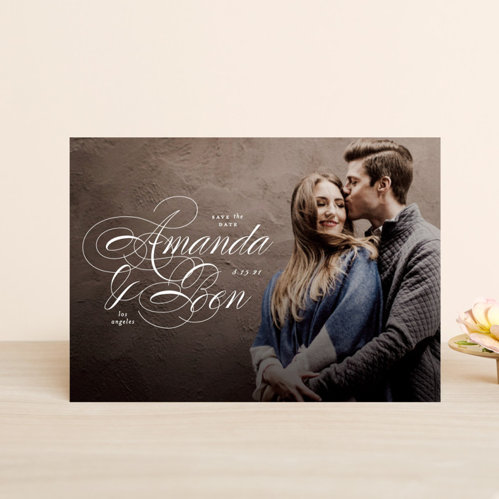 """Nestled"" - Save The Date Postcards in Cream by Roxy Cervantes."