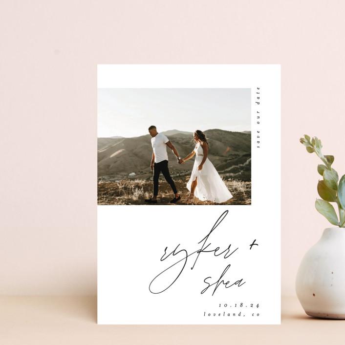 """Splendid"" - Save The Date Postcards in Silk by Carolyn Nicks."