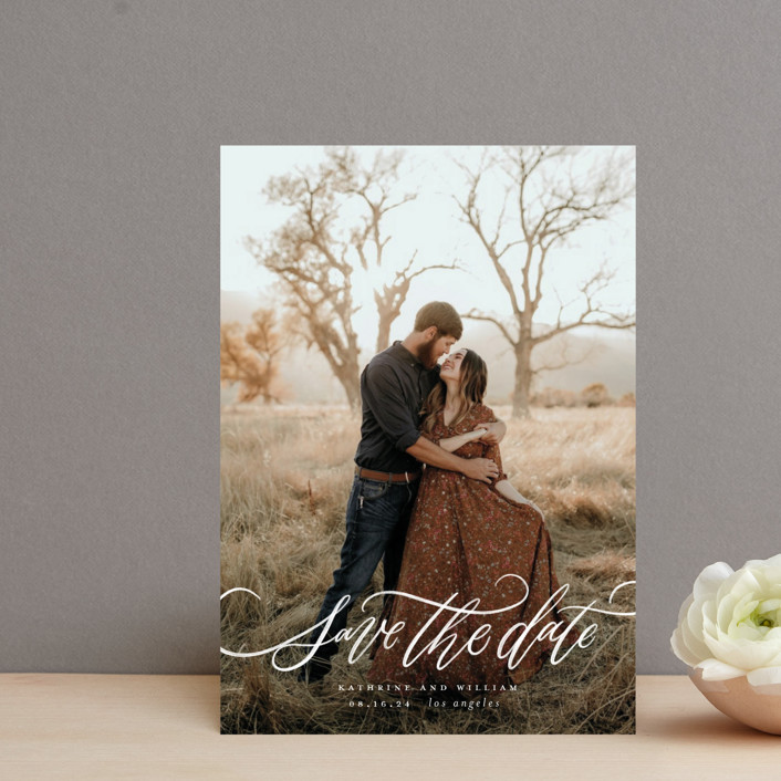 """""""Flourished Love"""" - Save The Date Postcards in Cloud by Wildfield Paper Co."""