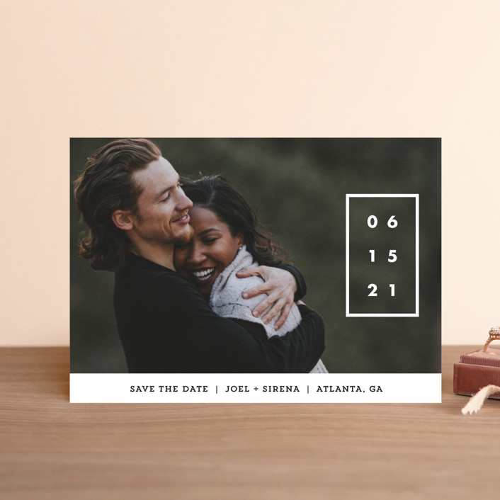 """""""Cherished Date"""" - Save The Date Postcards in Pearl by Chryssi Tsoupanarias."""
