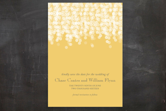 """Under the Stars"" - Elegant, Classical Save The Date Postcards in Citrus Yellow by Bethany Anderson."
