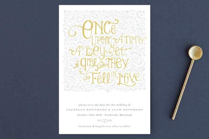 """Once Upon"" - Elegant, Classical Save The Date Postcards in Sunflower by Erin Pescetto."
