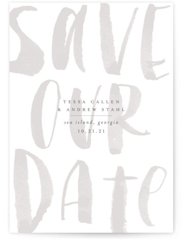 This is a portrait bold and typographic, grey Save the Dates by Sara Hicks Malone called Bare with Standard printing on Signature in Postcard Flat Card format. Minimally elegant
