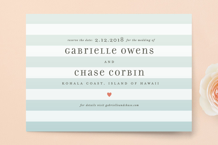 """""""Ombre Stripes"""" - Simple, Beach Save The Date Postcards in Ocean by Jill Means."""