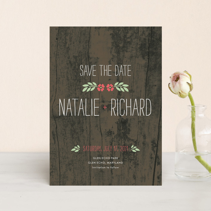 """""""In the Park"""" - Rustic Save The Date Postcards in Rose by Amanda Larsen Design."""