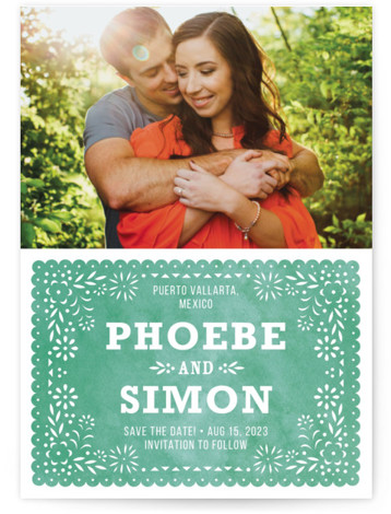This is a portrait botanical, green Save the Dates by root beer float called Fiesta Folk Art with Standard printing on Signature in Postcard Flat Card format. Smart and chic, our indie designed postcards let you announce your wedding date ...