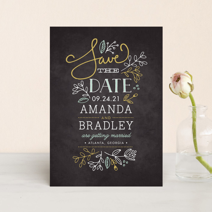 """""""Garden Stack"""" - Rustic Save The Date Postcards in Sunflower by Jessica Williams."""