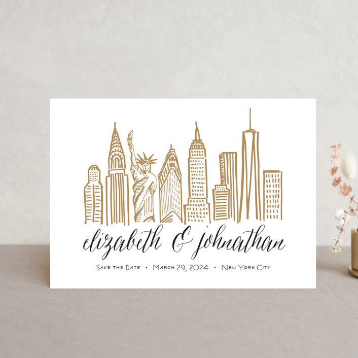 """Skyline - New York City"" - Save The Date Postcards in Gold Coast by Abby Munn."