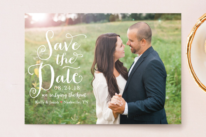 """Charmed Calligraphy"" - Full-Bleed Photo, Whimsical & Funny Save The Date Postcards in Coral by Sarah Guse Brown."