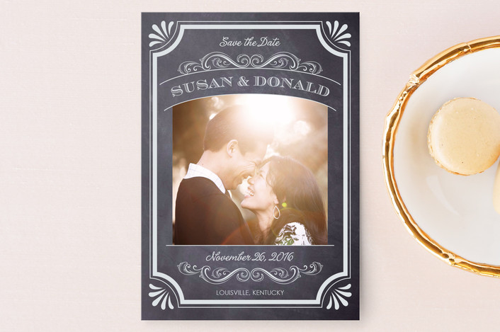 """""""A Chalkboard Marriage"""" - Vintage, Classical Save The Date Postcards in Chalk by Erin Deegan."""